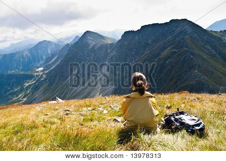 Young Woman In Mountains - Relax Scene