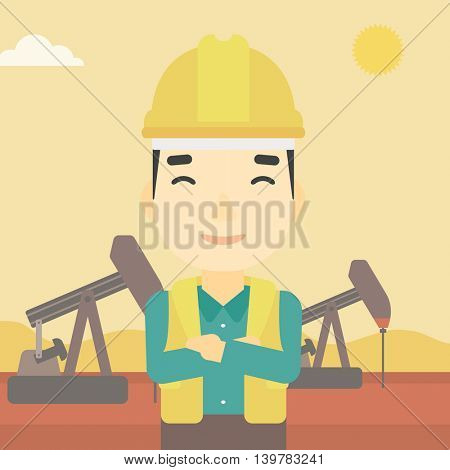 An asian oil worker in uniform and helmet. An oil worker with crossed arms. An oil worker standing on a background of pump jack. Vector flat design illustration. Square layout.