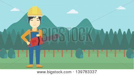 An asian female lumberjack in helmet holding a chainsaw on a forest background. Vector flat design illustration. Horizontal layout.