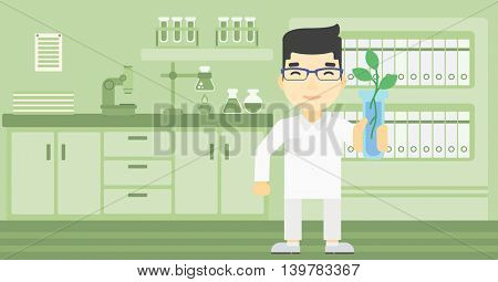 An asian scientist holding test tube with young plant. Scientist analyzing plant in test tube. Scientist holding test tube with sprout. Vector flat design illustration. Horizontal layout.