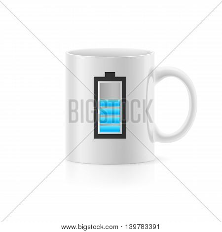 Cup with drawn indicator stay on white background