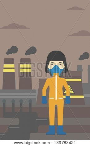 An asian woman wearing gas mask and radiation protective suit. Woman in radiation protective suit on a background of nuclear power plant. Vector flat design illustration. Vertical layout.