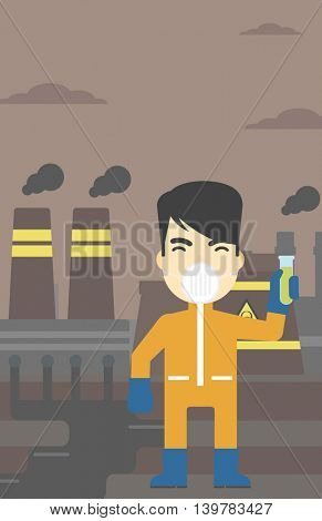 An asian scientist in radiation protective suit. Man holding a test-tube with some liquid on a background of nuclear power plant. Vector flat design illustration. Vertical layout.
