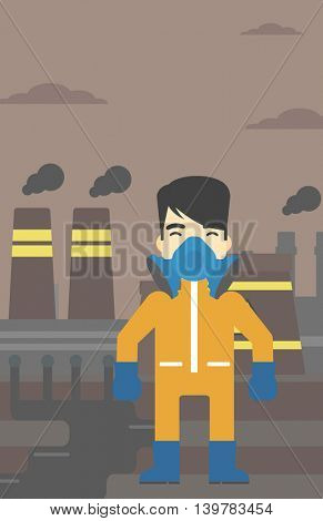 An asian man wearing gas mask and radiation protective suit. Man in radiation protective suit on a background of nuclear power plant. Vector flat design illustration. Vertical layout.