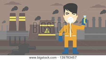 An asian scientist in radiation protective suit. Man holding a test-tube with some liquid on a background of nuclear power plant. Vector flat design illustration. Horizontal layout.