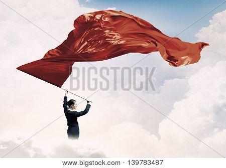 Woman waving red flag . Mixed media
