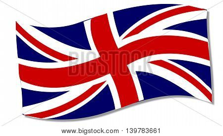 A fluttering Union Jack flag over a white background