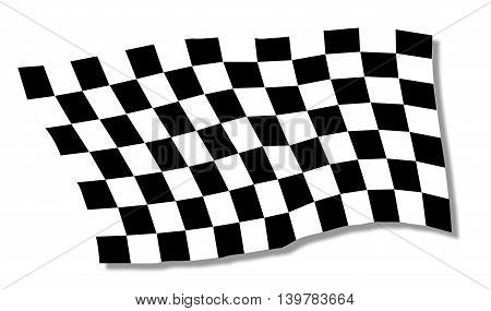 A racing chequered flag fluttering over a white background
