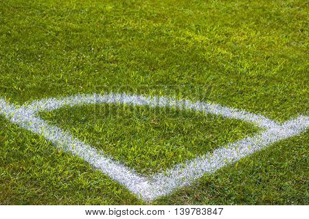 Football field corner with white marks, green grass texture in soccer field.