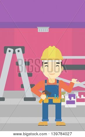 An asian man in helmet with a hummer and a nail in hands standing on the background of purple walls, paint cans and ladder vector flat design illustration. Vertical layout.