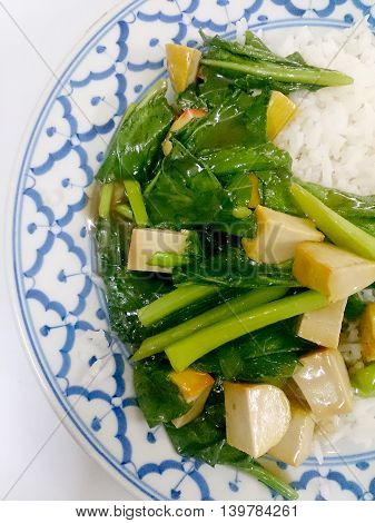 Fried Tofu With Chinese Broccoli &  Thai Jasmine Rice,  Vegetarian Food, Healthy Food