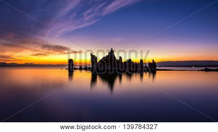 Calm Waters Of Mono Lake At Sunrise