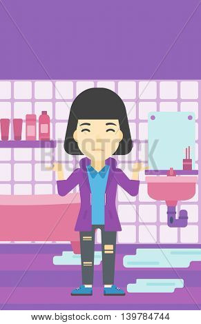 An asian woman with spread arms standing near leaking sink in the bathroom vector flat design illustration. Vertical layout.