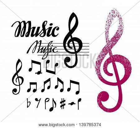 Notes and treble clef. Set of music elements or icons