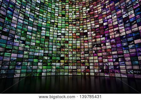 Giant multimedia video and image wall