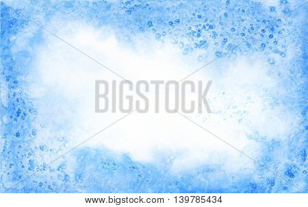 Blue watercolor background or frame
