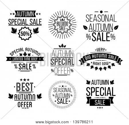 Autumn sale Logotypes set. Special offer  badges, labels, ribbons, elements, leaves, banners.  Vector Illustration.