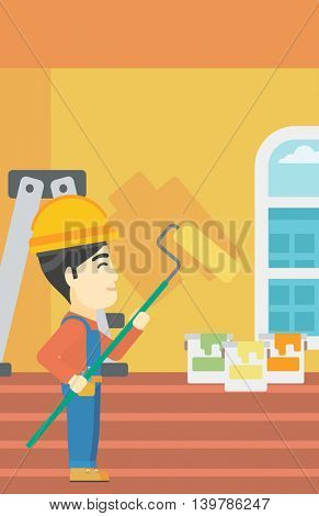 An asian painter in overalls with a paint roller in hands. Painter painting walls with a paint roller in an apartment. Vector flat design illustration. Vertical layout.