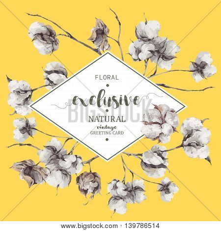 Vintage vector bouquet of twigs and cotton flowers. Botanical illustrations. Greeting card on yellow background.