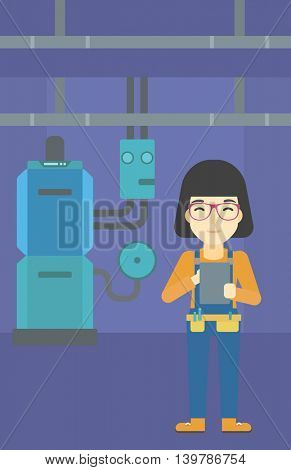 An asian woman making some notes in her tablet on a background of domestic household boiler room with heating system and pipes vector flat design illustration. Vertical layout.