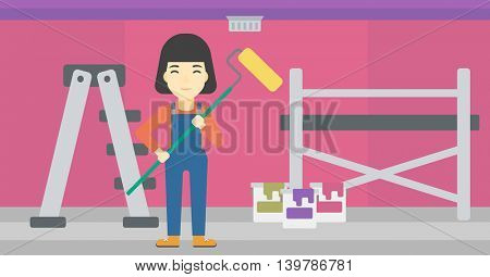 An asian female painter in uniform with a paint roller in hands. Painter at work in an apartment with paint cans and ladder. Vector flat design illustration. Horizontal layout.