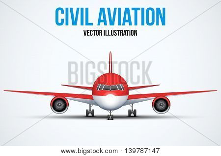 Front view of Civil Aircraft standing on the chassis. Red color. Public or private plane. For business and travel design. Vector Illustration isolated on background.