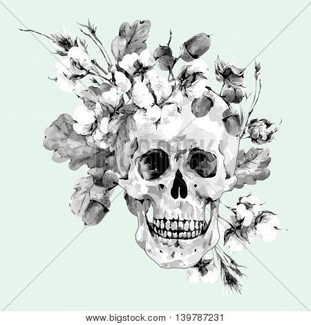 Skull and twigs, cotton flower, yellow oak leaves, Vector monochrome, Illustration Day of The Dead