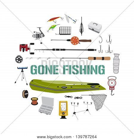 Fishing tackle flat icon set in circle shape. Fishing boat, rod, bait, lure and other gear and supplies abstract vector illustration. Gone fishing design concept for banner, t-shirt, advertisement.