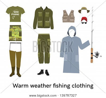 Warm weather fishing clothing flat vector set Fisher summer apparel and gear collection