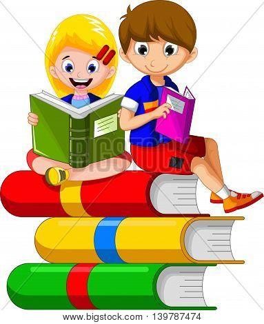 cute boy and girl cartoon reading a book