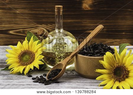 Sunflowers, Bottle With Oil And Sunflowers Seed