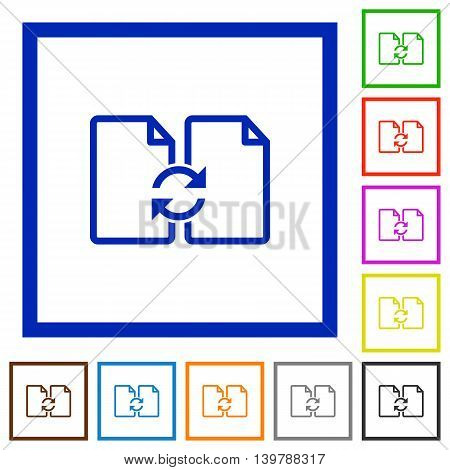Set of color square framed Swap documents flat icons