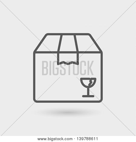 box fragile thin line icon isolated with shadow
