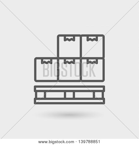 pallet thin line icon isolated with shadow