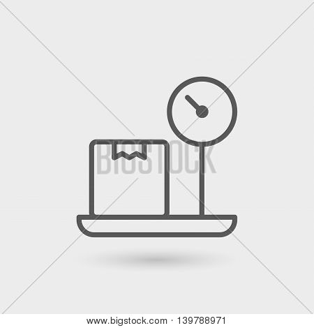 weighing thin line icon isolated with shadow