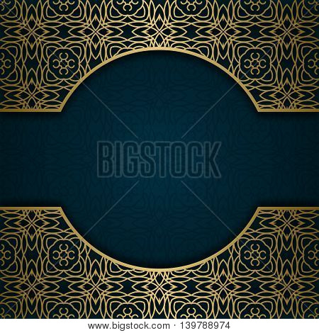 Traditional ornamental background with golden patterned frame