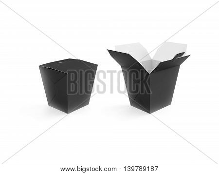 Opened and closed black blank wok box mockup stand isolated 3d rendering. Empty clear noodle carton box mock up. Asian take away food paper bag template. Chinese meal container packaging. Rice udon