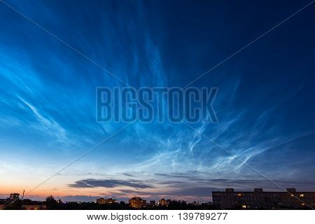 Noctilucent clouds at the night. Tallinn Estonia Europe