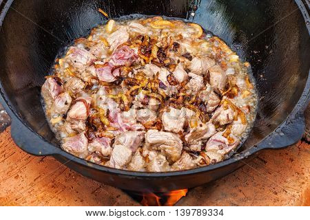 Pilaf, Pilaw, Plov, Rice With Meat In Pan. Cooking Process