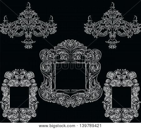 Glamorous Rich Baroque Rococo Furniture set. French Luxury rich carved ornaments accesories. Vector Victorian exquisite Style decor collection
