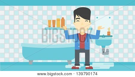 An asian man with spread arms standing near leaking sink in the bathroom vector flat design illustration. Horizontal layout.