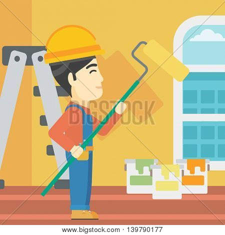 An asian painter in overalls with a paint roller in hands. Painter painting walls with a paint roller in an apartment. Vector flat design illustration. Square layout.