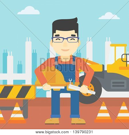 An asian engineer with a blueprint at construction site. Man holding a twisted blueprint and hard hat. Man checking construction works. Vector flat design illustration. Square layout.