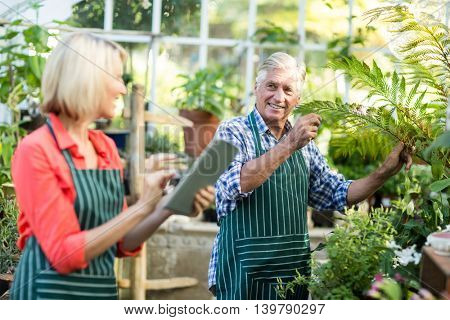 Couple smiling while working at greenhouse