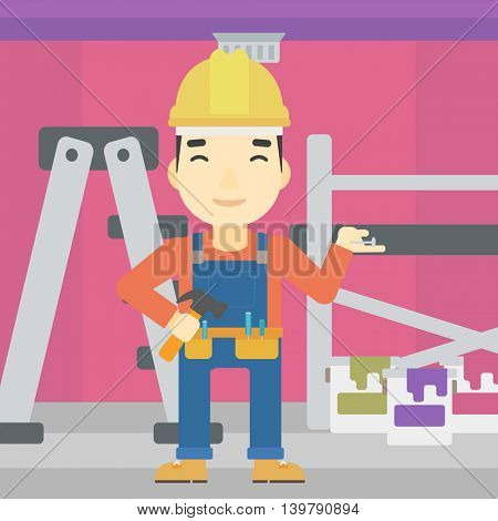 An asian man in helmet with a hummer and a nail in hands standing on the background of purple walls, paint cans and ladder vector flat design illustration. Square layout.