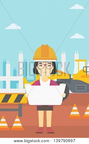 An asian engineer watching a blueprint at construction site. Woman with engineer blueprint. Engineer holding a blueprint. Vector flat design illustration. Vertical layout.