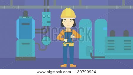 An asian female repairer engineer with a spanner in hand. A repairman giving thumb up. A repairman at domestic household boiler room. Vector flat design illustration. Horizontal layout.