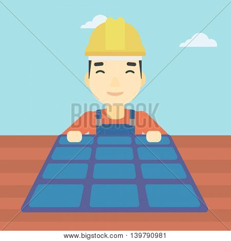 An asian man installing solar panels on roof. Technician in inuform and hard hat checking solar panels on roof. Vector flat design illustration. Square layout.