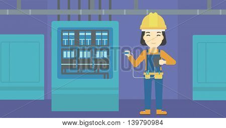 An asian woman in helmet measuring the voltage output. Young electrician with electrical equipment standing in front of switchboard. Vector flat design illustration. Horizontal layout.