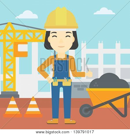 An asian builder in helmet giving thumb up. A builder with thumb up on a construction site. A woman giving thumb up on a background of road works. Vector flat design illustration. Square layout.